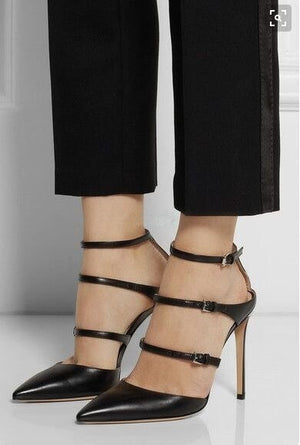 ... Sestito Lady Fashion 3 Straps Pointed Toe Pumps Woman Buckle Strap  Summer Slingback Shoes Girls Black 95e7937c3b54