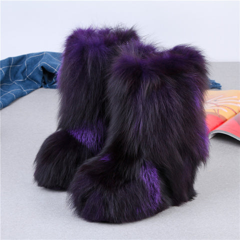 Image of 2018 European American top quality winter height increasing 13 cm colourful fox fur snow boots genuine leather women half boots
