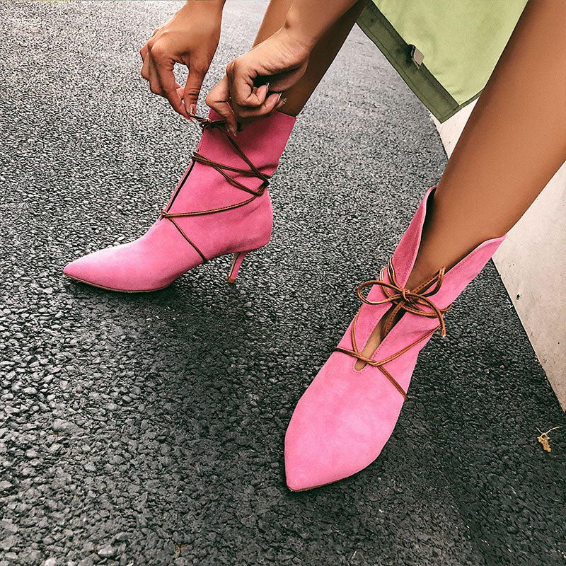 2018 European American New web celebrity women's shoes strap pointed toe thin heel cow suede boots genuine leather half boots