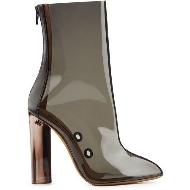 2018 European American model fashion catwalk show genuine leather transparent mid-calf boots pointed toe chunky heel half boots