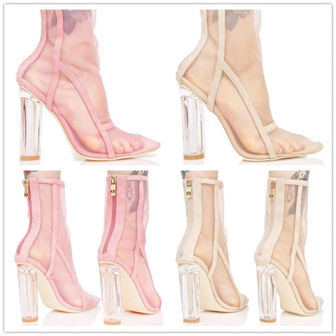 Image of 2018 European and American new style ankle boots pointed toe transparent chunky heel shoe zipper sexy mesh hollow women's boots