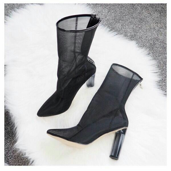 2018 European and American new style ankle boots pointed toe transparent chunky heel shoe zipper sexy mesh hollow women's boots