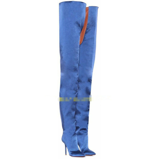 2018 European American fashion show thigh boots specific sexy over the knee super long boots slim pointed toe thin high heels