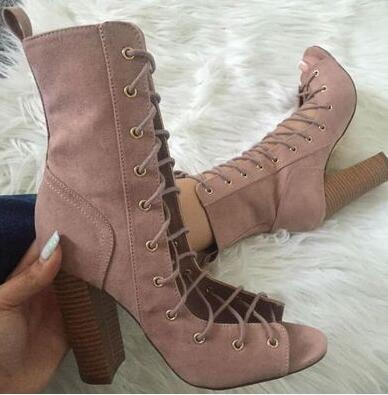 bf4b730a6a1c ... Image of Sestito New Fashion 2018 Woman Peep Toe Lace-up Gladiator  Sandals Boots Ladies ...