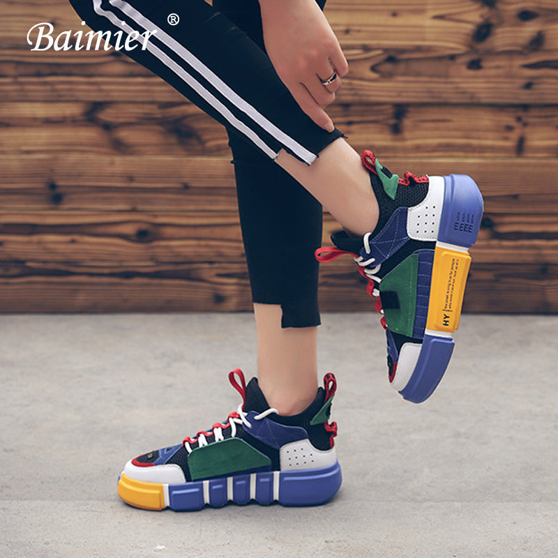 115073cf044 Baimier Genuine Leather Women Sneakers Mesh Breathable Mixed Color ...