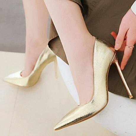 501e3c5ff5 Sweet Female 6194 Big size 34-43 women pumps 12 cm high heels dress shoes  lady shoes Thin high heeled Patent leather party Shoes