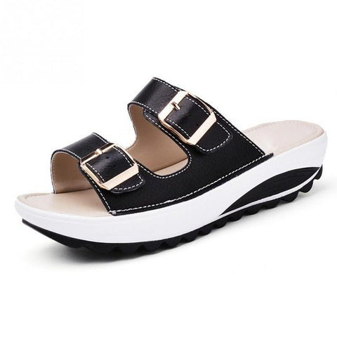 Image of 2017 Casual Women's Sandals Genuine Leather Summer Flats Shoes Women Platform Wedges Female Slides Beach Flip Flops Size 35-40
