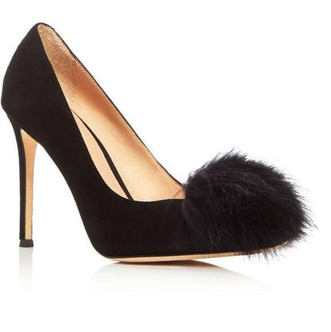 Image of 2017 New Fashion Black Suede Leather Women Pom Pom Pumps Pointy Toe Ladies Slip On High Heels Red Patent Leather Female Stiletto