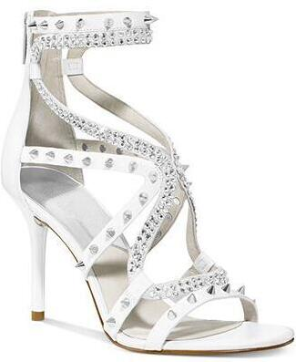 2017 Summer Fashion Rhinestone Straps Women Open Toe Sandals Sexy Open Toe Studs Leather Strap Ladies Sexy High Heels Size 41