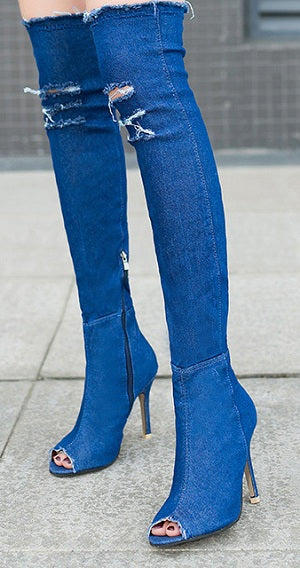 Womens Open Toe Bandage Peep Toe Vogue Over Knee High Boot Color Stitching Shoes