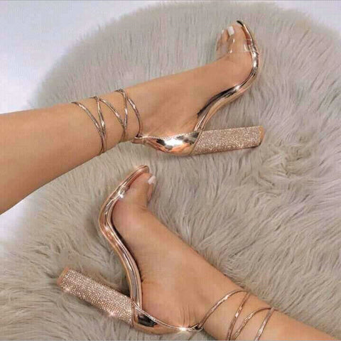 big size 34-43 Women Heeled Sandals Bandage Rhinestone Ankle Strap Pumps Super High Heels 11 CM Square He
