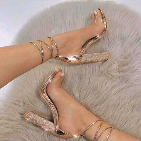 big size 34-43 Women Heeled Sandals Bandage Rhinestone Ankle Strap Pumps Super High Heels 11 CM Square Heels Lady Shoes NN-59