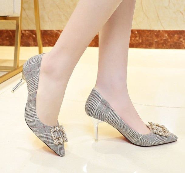 2018 fashion single shoes spring plaid shoes shallow mouth pointed stiletto rhinestone square buckle sexy high heel women's   6