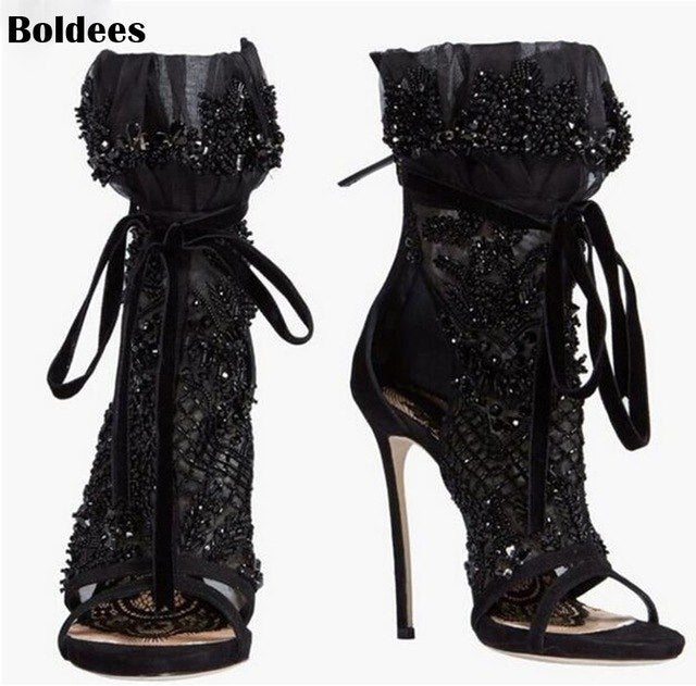 e99dcd9b4b Thin High Heel Black Lace Leather Summer Sandals Boots Women Cut Out Lace  Up Ankle Boots. Hover to zoom