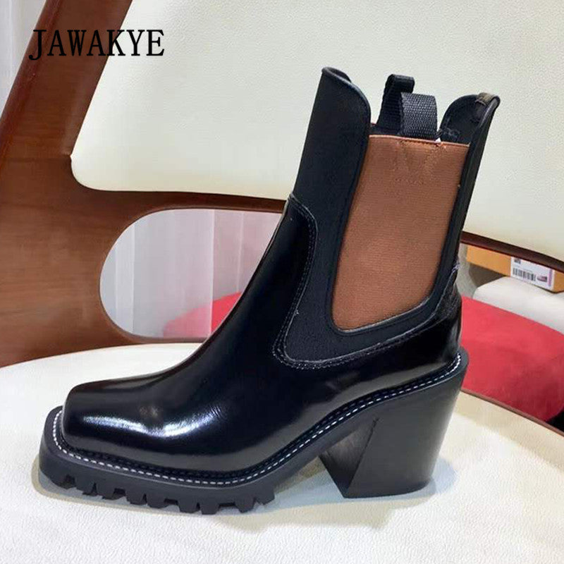2018 Chic Ankle Boots Woman Square Toe Real Leather High Heel Chelsea Boots Women Fashion Platform Boots