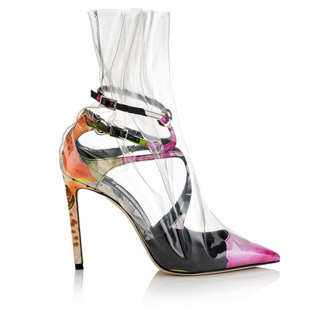 2018 Hot Sale Sexy Transparent Shoes Woman Pointed Toe White Black Pink Luxury Satin Pvc High Heel Shoes Femme Party Shoes