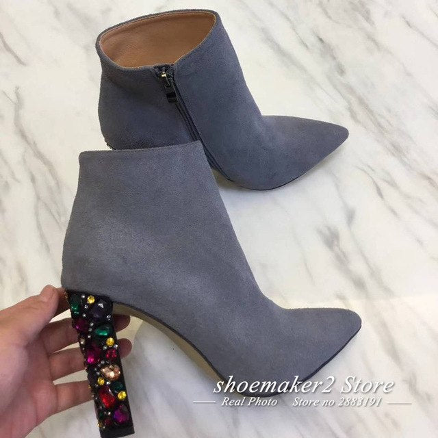2018 Chic Real Leather Ankle Boots Woman Pointed Toe Mix Color Rhinestone Diamond Crystal High Heel Boots Women Party Shoes