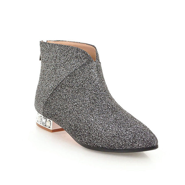 163eefe1b672 WETKISS Leopard Winter Ankle Women Boot Pointed Toe Short Plush Footwear  Pearl Female Boots Low Heels. Hover to zoom