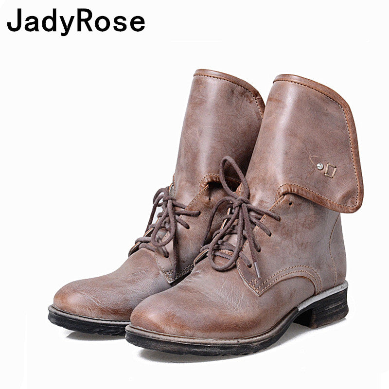 7d8602afb6c7 Jadyrose women winter chelsea boots round toe flats martin boot shoes woman  lace up ankle boots. Hover to zoom