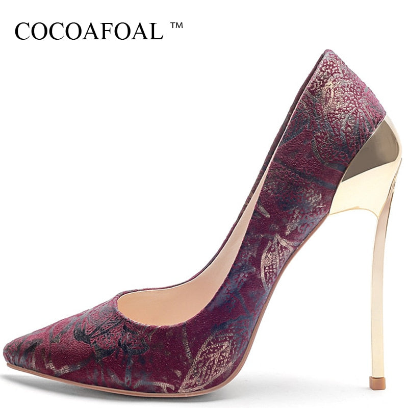 2270072b54b COCOAFOAL Women s High Heels Shoes Sexy Heel Shoes Woman Pointed Toe  Stiletto Plus Size Yellow Red. Hover to zoom