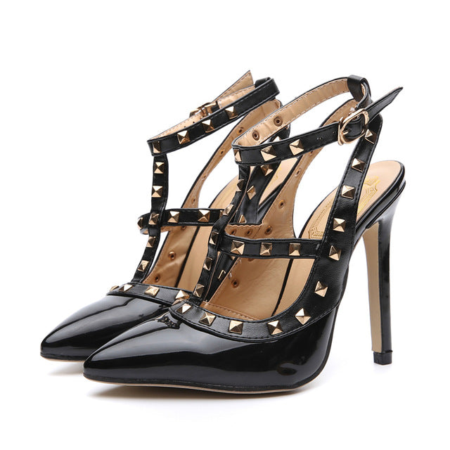081de15fef17 HZXINLIVE New Rivets Sandals Women Patent Leather Sexy Pointed Toe ...