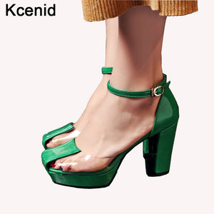 03e6c9ec0 Kcenid 2018 Newest pumps rome style green with transparent strappy buckle sandals  high heels platform shoes ...