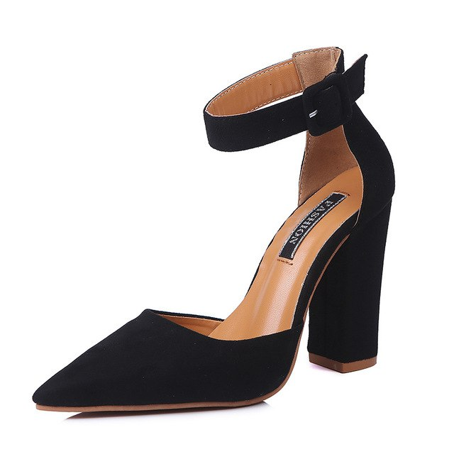 10.5CM Thickness High Heel Shoes For Laides Women's Pointed Toe Chunky Heels Buckle Pumps Wedding Party Shoes New in 2018 Autumn