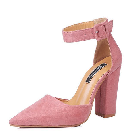 Image of 10.5CM Thickness High Heel Shoes For Laides Women's Pointed Toe Chunky Heels Buckle Pumps Wedding Party Shoes New in 2018 Autumn