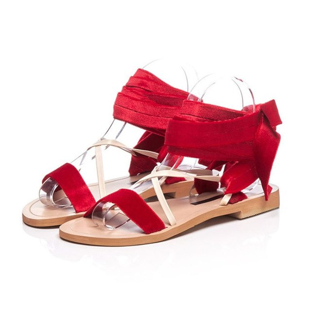 bf38c1fb7f11a NAYIDUYUN 2018 New Women Velvet Lace Up Strappy Roman Gladiator Sandals  Open Toe Low Heel Party. Hover to zoom