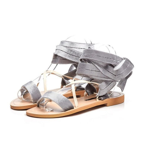 99028fbf96e17 ... Image of NAYIDUYUN 2018 New Women Velvet Lace Up Strappy Roman  Gladiator Sandals Open Toe Low