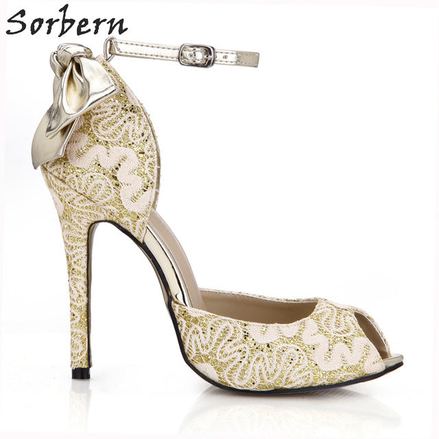 913623ede63d Sorbern Elegant Gold Lace Summer Shoes Women Sandals Women High ...