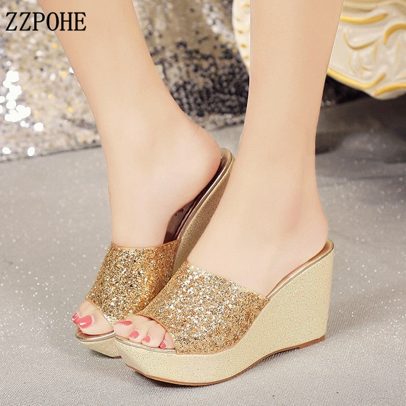 054cfa213e9 Hover to zoom · ZZPOHE Women Shoes 2018 Summer Fashion Woman Flip Flops  Wedges Sandals Slippers Ladies Open toe Platform