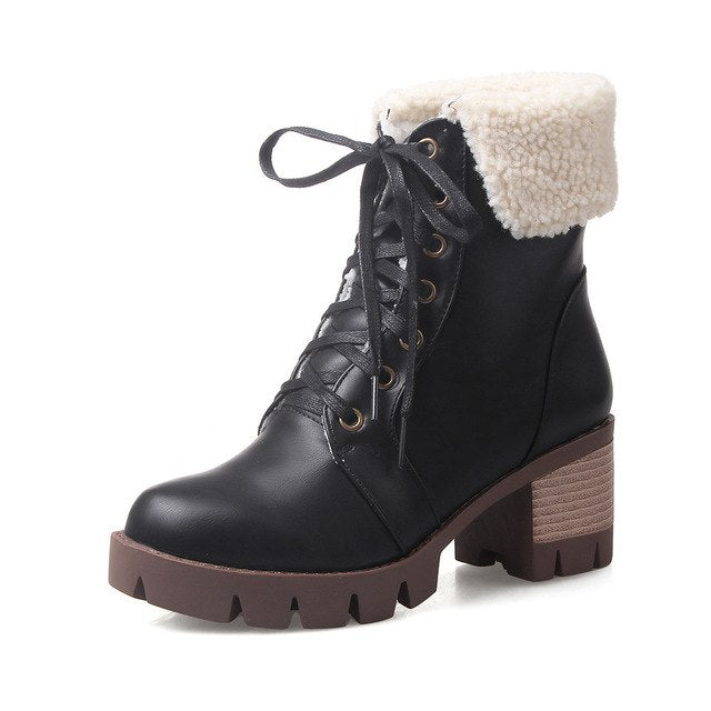 32e3e66ffd1 XJRHXJR Fashion Women Square Heel Ankle Boots Woman Round Toe Lace Up  Martin Boot Female Vintage. Hover to zoom
