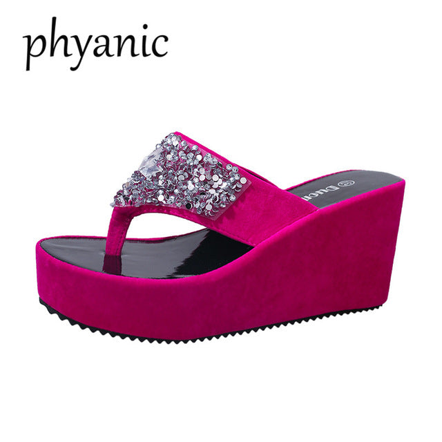 99b810d62 Hover to zoom · Phyanic Bling Women Flip Flops Wedge High Heels Platform  Woman Slipper Beach Sandals ...