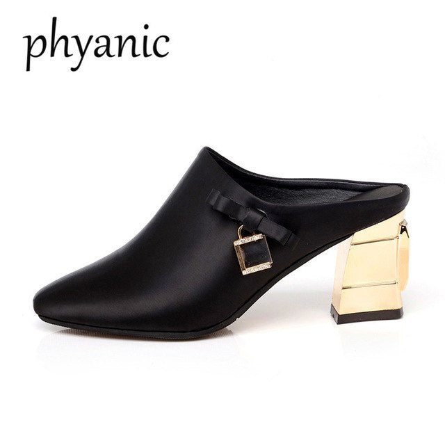Phyanic Fashion Silver Red Black Satin Women Mules Shoes Thick High Heels  Female Slippers Spring Summer. Click to expand 9f268480d033