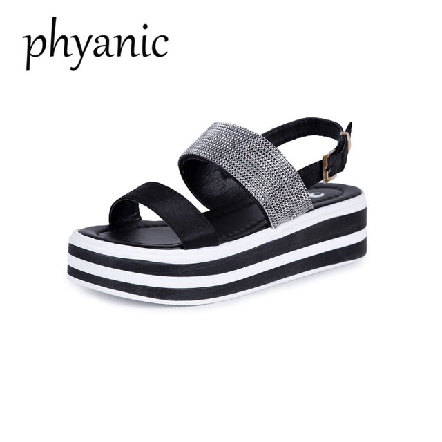 f83ebd588 Hover to zoom · Phyanic Women Platform Sandals High Heels 6cm Gladiator  Woman Open Toe Shoes Summer ...