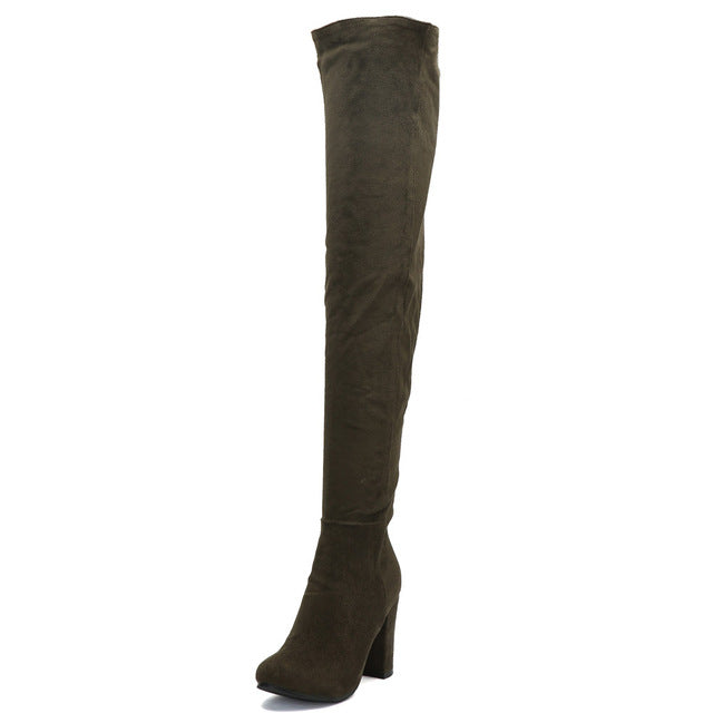e736e4f385c Yifsion Hot Women Winter Boots Over The Knee Boots Square High Heel ...