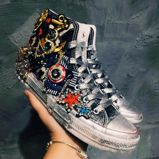 1b256042b64 Retro Womens Heavy Metal Distressed Flats Sneakers Shoes Lace Up ...