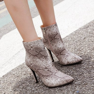 ff3c27d20842 ... Heel Winter Shoes Women Snake Leather Ankle Boots Woman High Heels  Motorcycle Boots. Hover to zoom