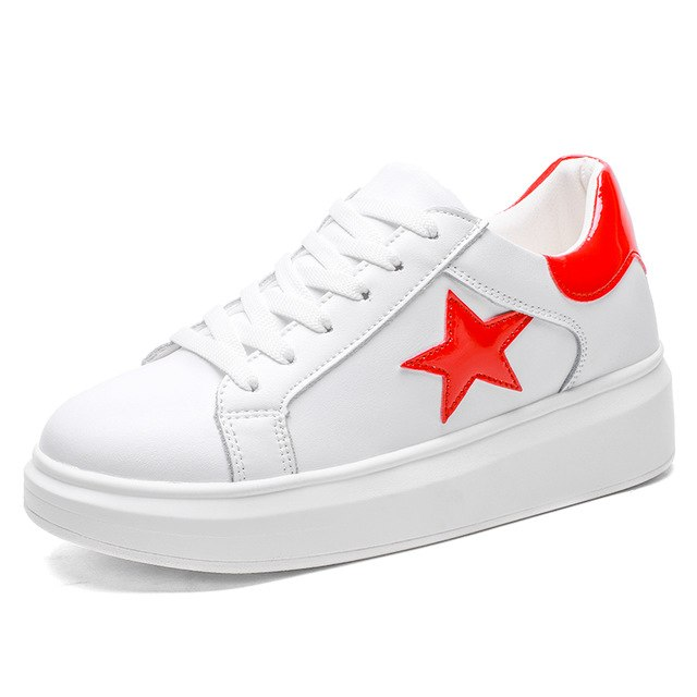 55907cab935895 HZXINLIVE 2018 Summer Women Flats Shoes Lace Up White Pentagram Casual  Flats Ladies Platform Vulcanized Shoes. Hover to zoom