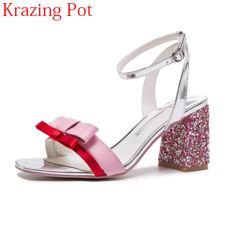 18c842374b 2018 Superstar Genuine Leather Butterfly-knot Bowtie Sweet Square Heel  Women Sandals Gladiator Bling High Heels Summer Shoes L59