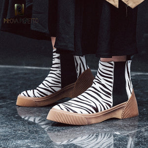 Prova Perfetto Fashion Horse Hair Casual Women's Vulcanize Shoes Slip-on Ladies Boots Flat Canvas Shoe Female Leisure Footwear
