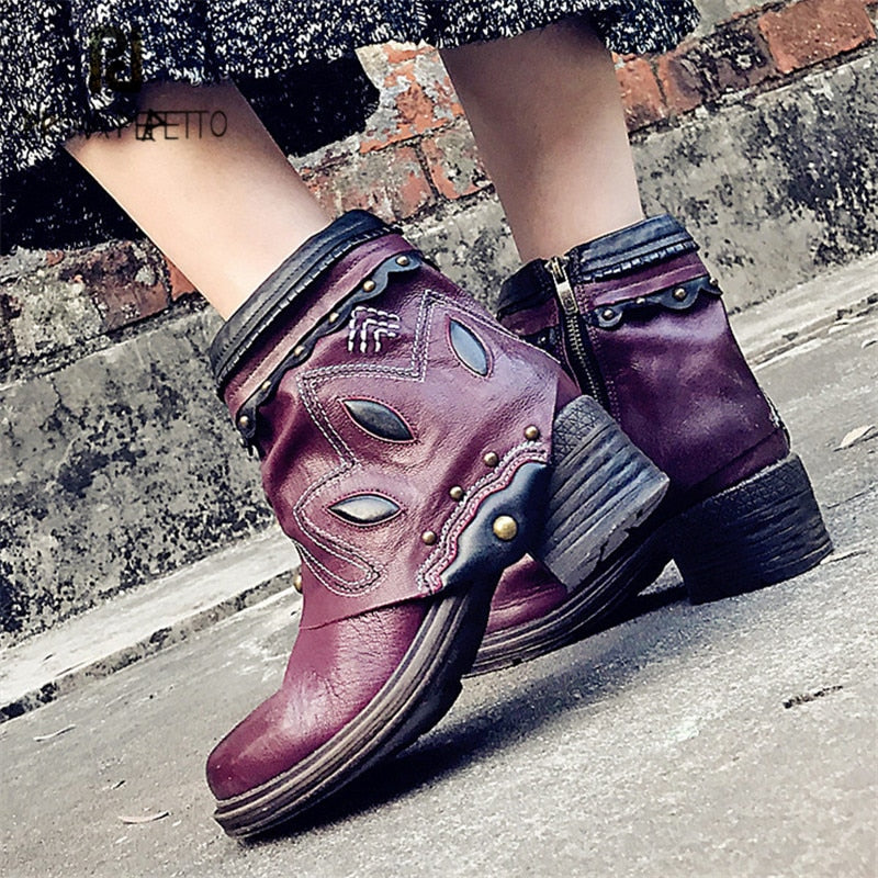 2e72425ab6f Hover to zoom · Prova Perfetto Purple Women Ankle Boots Rivets Martin Boot  Platform Rubber Shoes Female Ethnic Botas Mujer