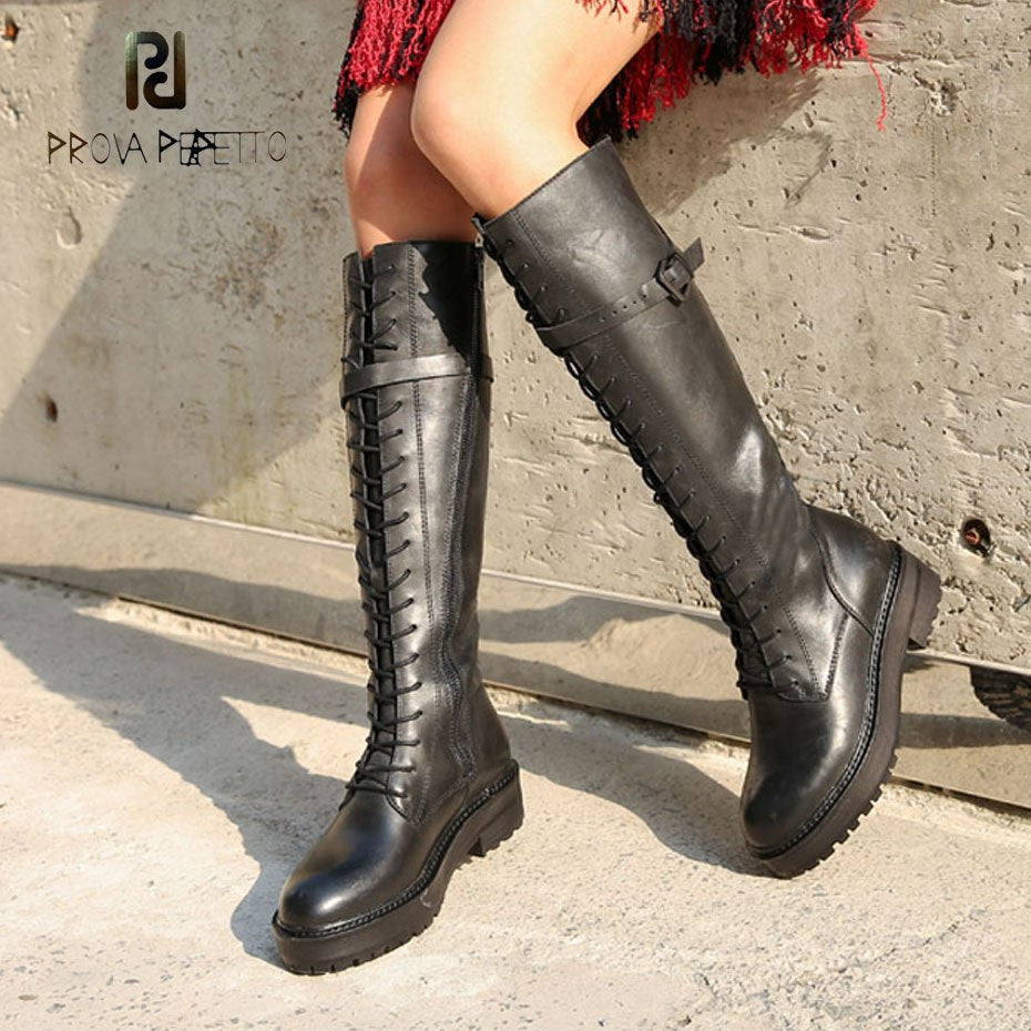 40b9bf178cb Hover to zoom · Prova Perfetto black cow leather platform flats knee high  boots women cross tied ...