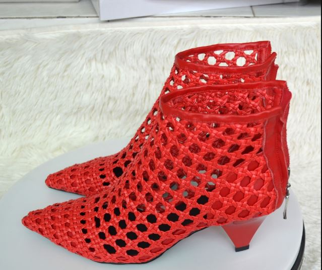 670f51a11c3 JAWAKYE Elegant Retro Red Gladiator Sandals Womens Cut Outs Mesh Leather  Block Chunky Spike High Heels. Hover to zoom