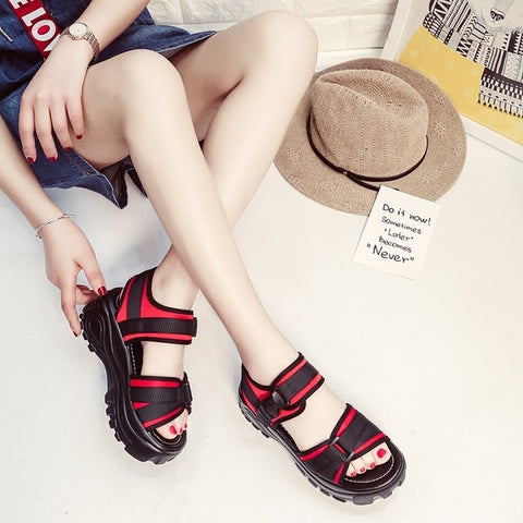 Image of sandalias mujer 2019 womens sandals summer shoes woman flats ladies wedge sandals heels black chaussures femmes schoenen vrouw