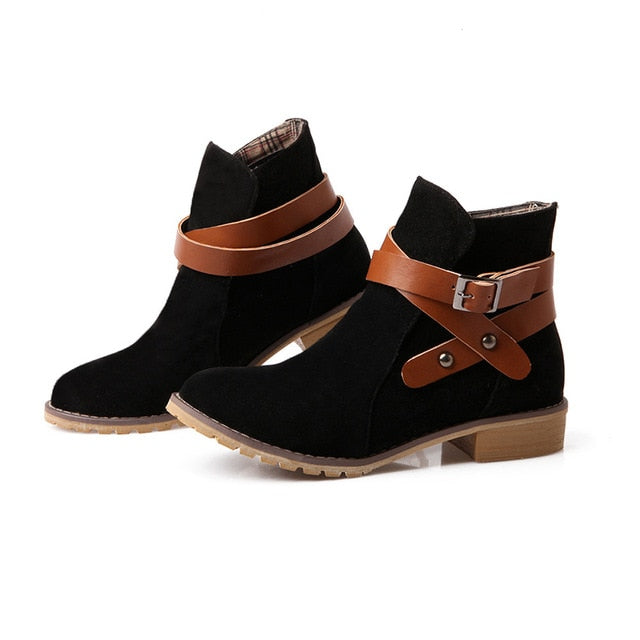 335659b5df85 Hover to zoom · women s boots fashion suede low heel booties Round head ankle  boots plus size ...