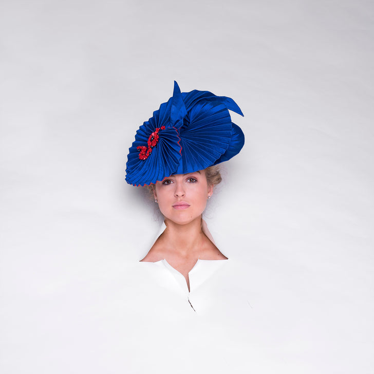 Lina Stein Bespoke Collection royal blue millinery origami ladies hat. Photographer Sadhbh Kenny