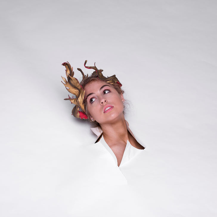 Lina Stein Millinery Lookbook Golden Crown, leather fascinator. Photographer Sadhbh Kenny