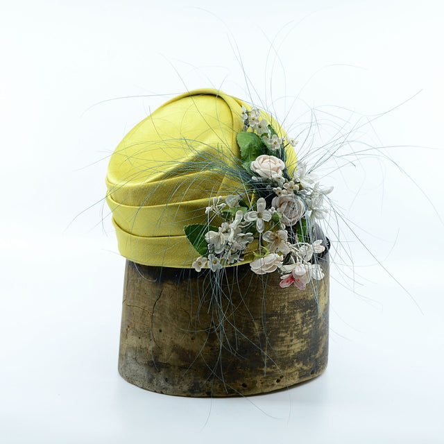 Lina Stein limited edition silk ladies hat. Side-view. Photographer Sadhbh Kenny